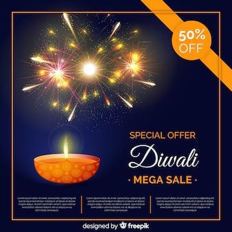 Bunte diwali verkaufszusammensetzung mit realistischem design