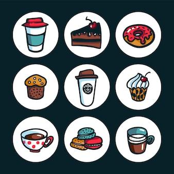 Bunte doodlestyle-cartoon-reihe von objekten zum thema kaffee