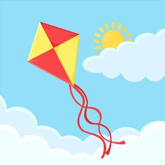 Bunte drachenfliege im blauen himmel mit wolken. sommerferien.
