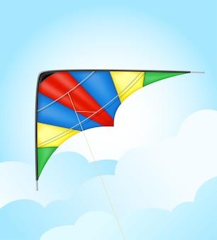 Bunte drachenfliegen in der himmelsvektorillustration lokalisiert auf weißem hintergrund