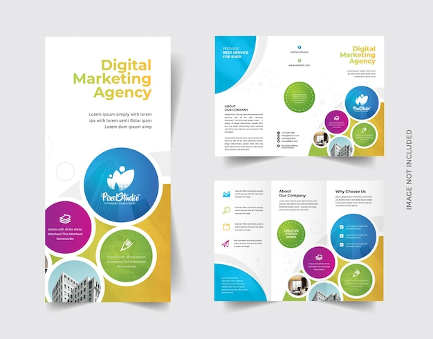 Bunte dreifach-broschüre mit cricle