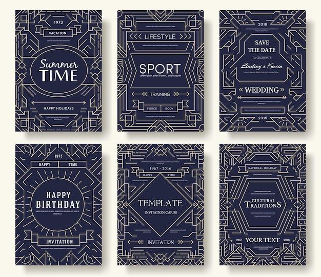 Bunte dünne linie einladung. moderne seite des layoutornaments. abstrakte broschüre kartensatz.