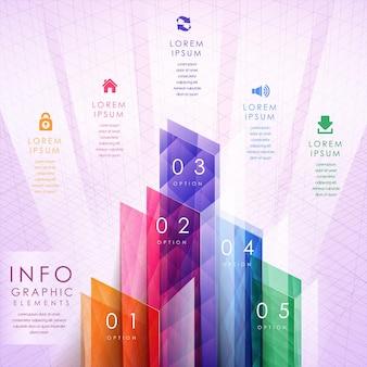 Bunte durchscheinende geometrische balkendiagramm-infografik-elemente-vorlage