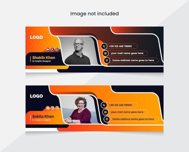 Bunte e-mail-signaturvorlage oder e-mail-fußzeile und persönliche social-media-cover-designvorlage
