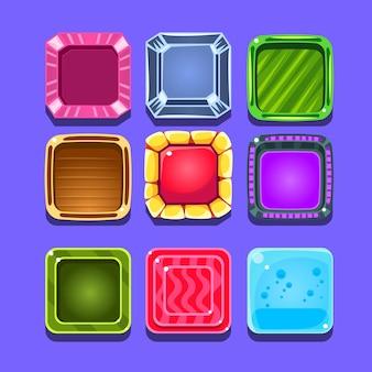 Bunte edelsteine flash-spielelementvorlagen design-set mit quadratischer süßigkeit für drei in der reihe art des videos