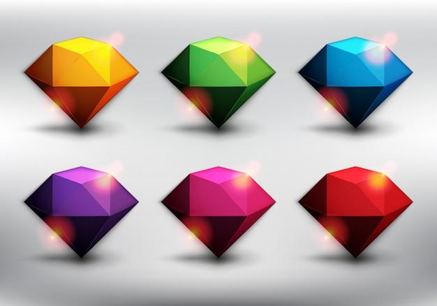 Bunte edelsteine im 6er-set. diamanten im poly-stil in 6 verschiedenen farben. auf dem weißen hintergrund isoliert.
