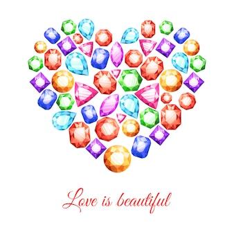 Bunte edelsteine in herzform mit liebe ist schöne beschriftung