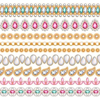 Bunte edelsteine nahtlose horizontale ränder gesetzt. ethnischer indischer stil. kettenarmband halskette schmuck.