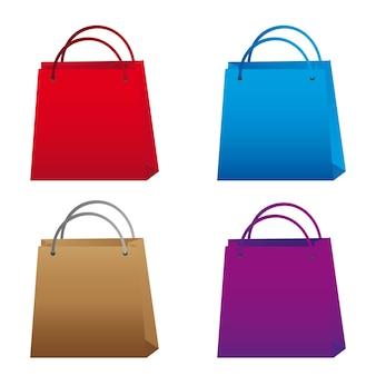 Bunte einkaufstaschen auf weißem hintergrund