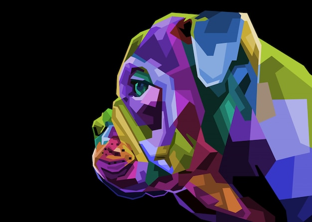 Bunte englische bulldogge auf pop-art-stil. illustration.