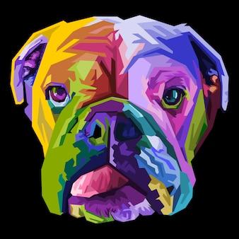 Bunte englische bulldogge auf pop-art-stil. vektorillustration.