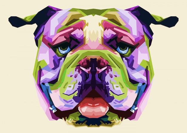 Bunte englische bulldogge auf pop-art-stil
