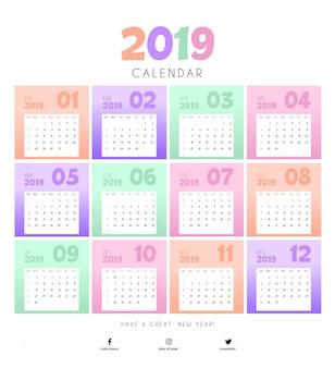 Bunte entwurfsvorlage für 2019 kalender