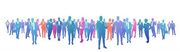 Bunte erfolgsgeschäftsleute schattenbild, gruppe des verschiedenartigkeitsgeschäftsmannes und erfolgreiche teamkonzeptfahne der geschäftsfrau