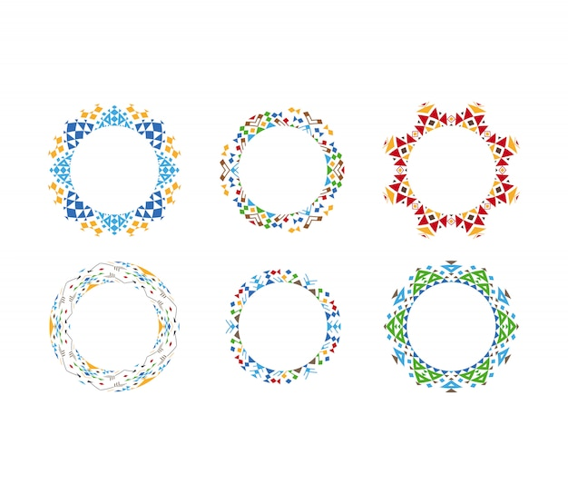 Bunte ethnische dekorative kreisförmige rahmen
