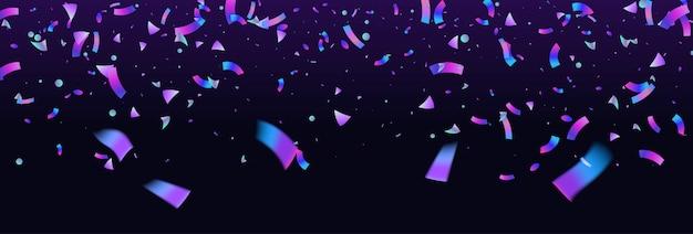 Bunte explosion des konfetti-hintergrunds. holographisch mit lichtstörungseffekt. abstraktes banner