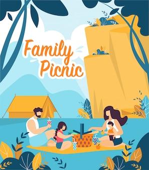 Bunte fahne ist schriftliche familien-picknick-karikatur.