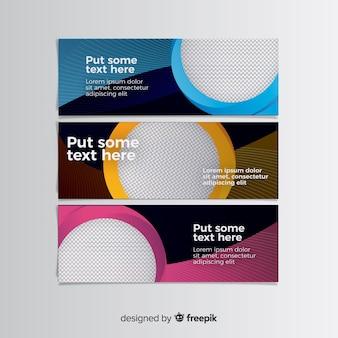 Bunte fahnen mit abstraktem design