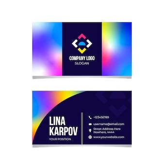 Bunte farbverlaufs-visitenkartenschablone