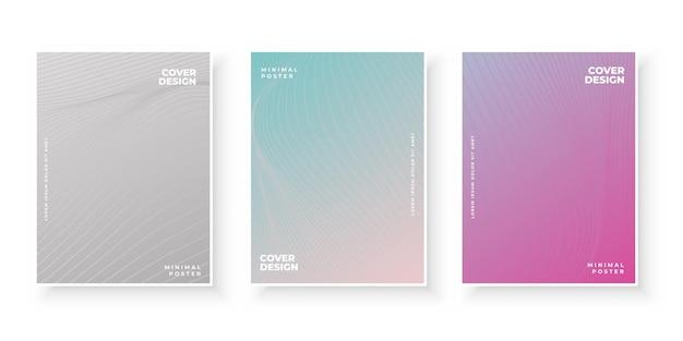 Bunte farbverlaufsabdeckungen mit abstraktem liniendesign-set