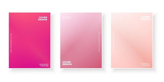 Bunte farbverlaufsabdeckungen mit abstraktem texturmuster-design-set