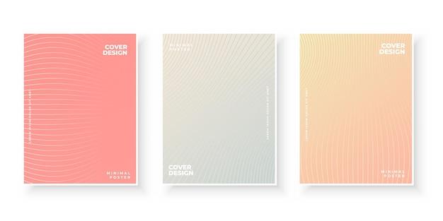 Bunte farbverlaufsabdeckungen mit linienmuster-design-set
