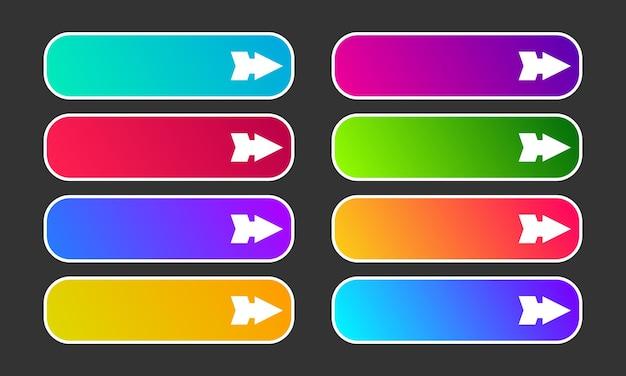 Bunte farbverlaufsknöpfe mit pfeilen. satz von acht modernen abstrakten web-schaltflächen. vektor-illustration