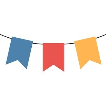 Bunte feiertagsflaggen der karikatur auf dem seil.. vektorillustration