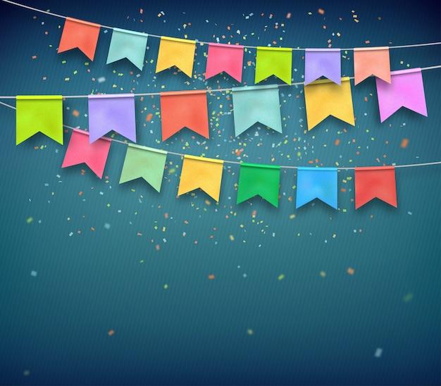 Bunte festliche flaggen mit konfettis auf dunkelblauem hintergrund.