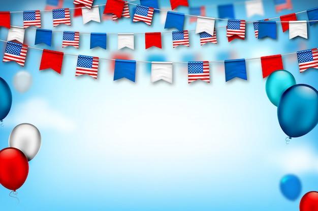 Bunte festliche girlanden der usa-markierungsfahnen und der luftballone. amerikanischer unabhängigkeits- und patriottag