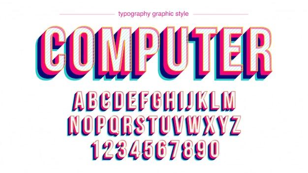 Bunte fett rosa rot blau großbuchstaben typografie