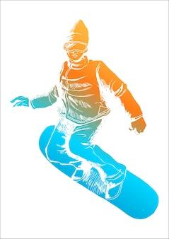 Bunte figur eines snowboarders