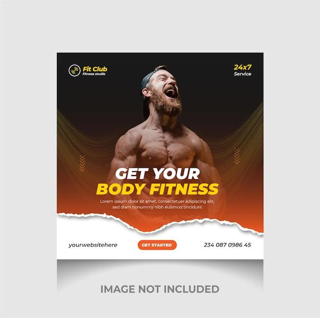 Bunte fitness- und fitness-instagram-post und social-media-web-banner-vorlage premium-vektor
