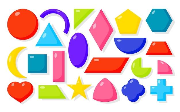 Bunte flache cartoon-geometrische formen-symbole setzen grundlegende mathematische formen als quadratischer kreis ovaler dreiecksstern-rhombus und anderes kit zum lernen von kindern in der schule isoliert auf weißer vektorillustration