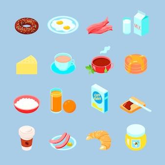 Bunte flache ikone des frühstückslebensmittels und -getränkes stellte mit kaffeeteeieiern ein
