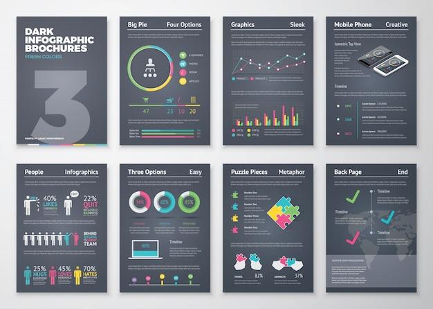 Bunte flache infografik-vorlagen auf dunklem hintergrund