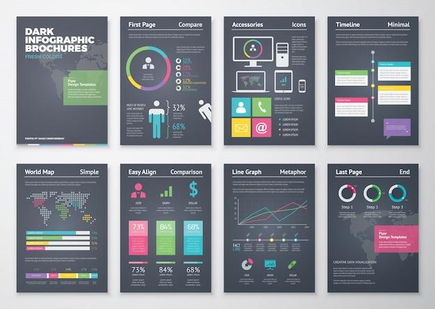 Bunte flache infografische vorlagen auf schwarzem hintergrund