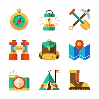 Bunte flache kampierende ikone