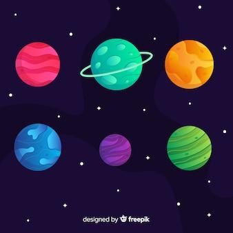 Bunte flache planeten eingestellt