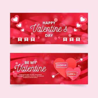 Bunte flache valentinstagfahnen