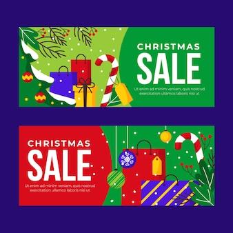 Bunte flache weihnachtsverkaufsfahnen