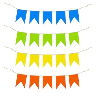 Bunte flaggen feiertagsflaggen für kinder vektorillustration