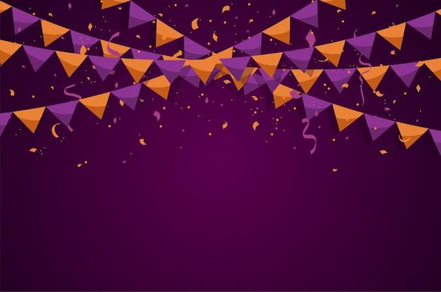 Bunte flaggenflaggen mit konfettis und bändern für halloween