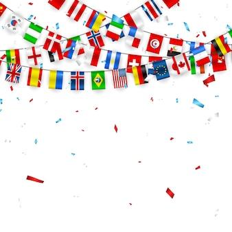 Bunte flaggengirlande verschiedener länder europas und der welt mit konfetti.
