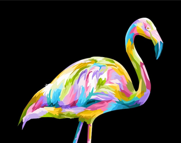 Bunte flamingo pop art porträt premium