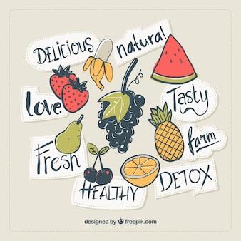 Bunte flecken mit verschiedenen früchten