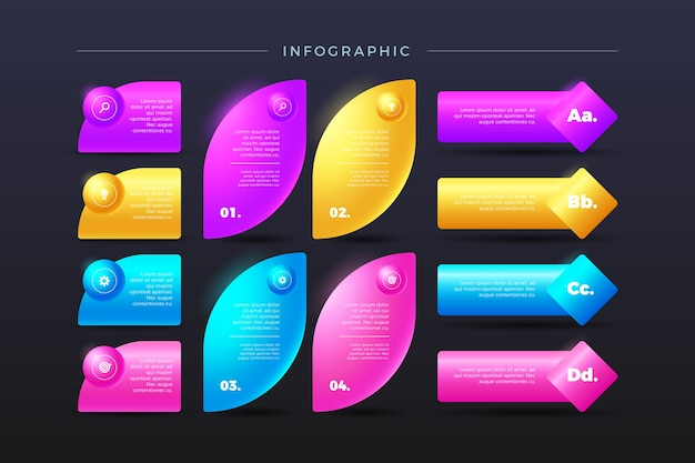 Bunte flossy infografik 3d in verschiedenen formen