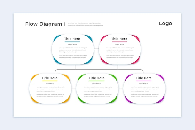 Bunte flussdiagramm-infografikschablone