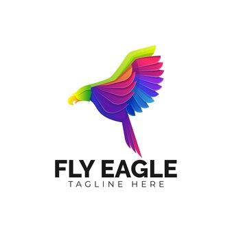Bunte fly eagle logo vorlage