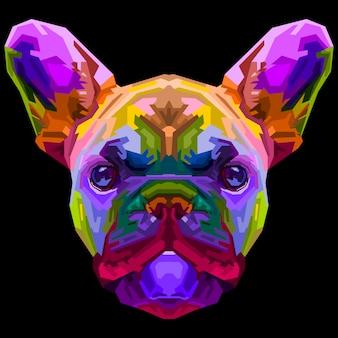 Bunte französische bulldogge auf pop-art-stil. illustration.